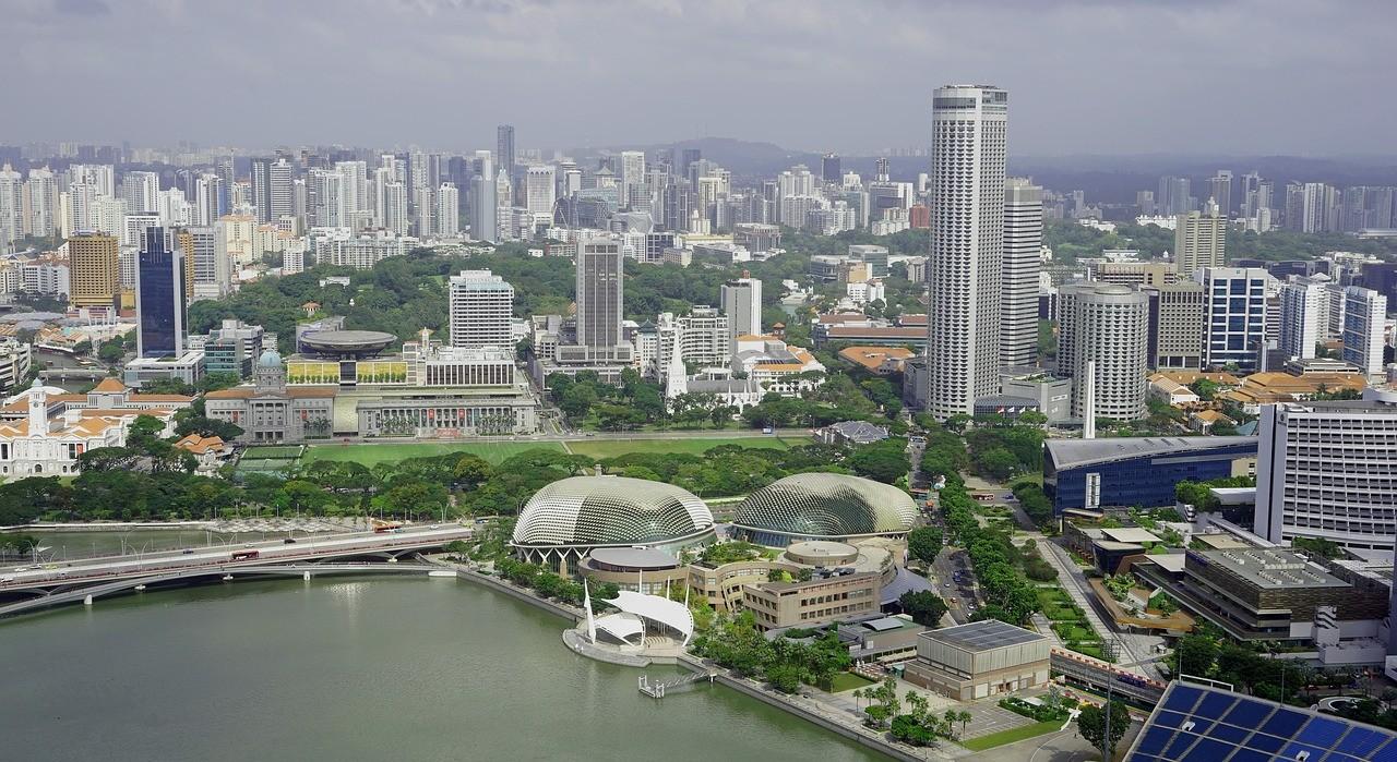 skyline, singapore, skyscraper